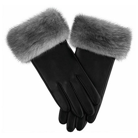 Leather Gloves with Mink Fur Cuffs