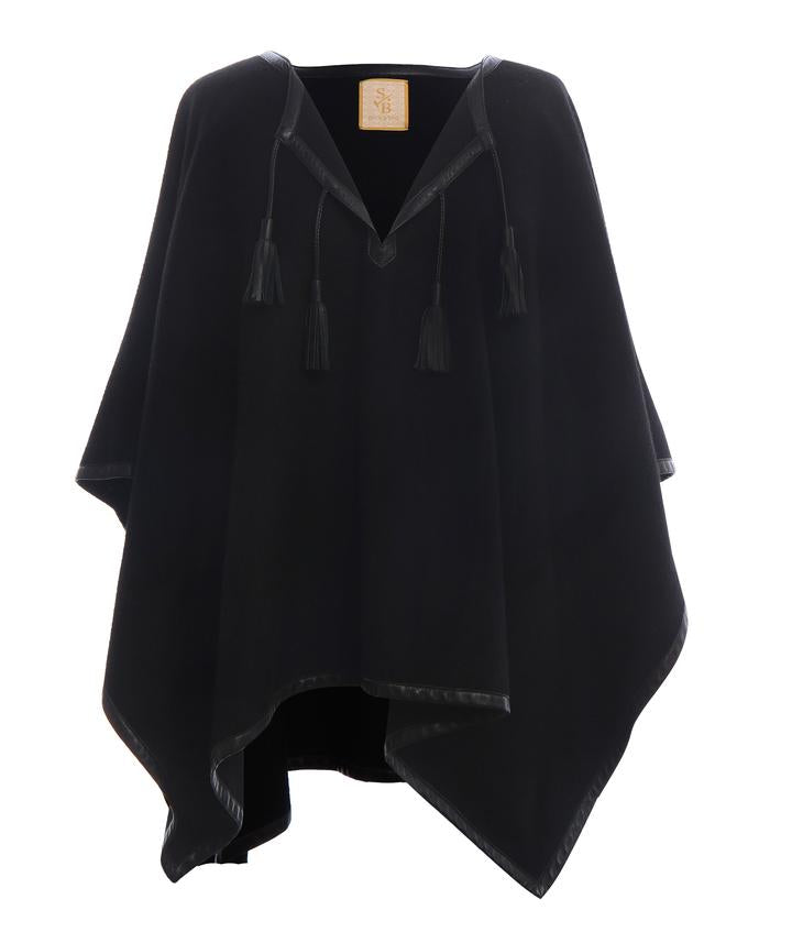 Stick & Ball Black Leather Trim Baby Alpaca Poncho