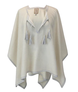 Stick & Ball Cream Leather Trim Baby Alpaca Poncho