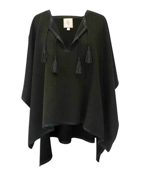 Stick & Ball Olive Green Leather Trim Baby Alpaca Poncho