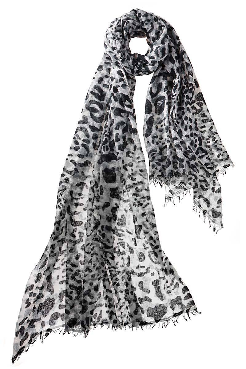 Felted Leopard Scarf in Graphite
