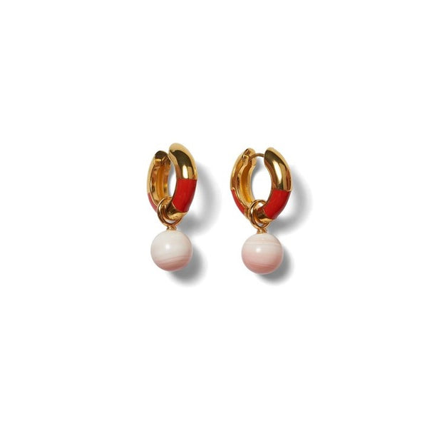Lizzie Fortunato Life Saver Hoop Earrings in Red