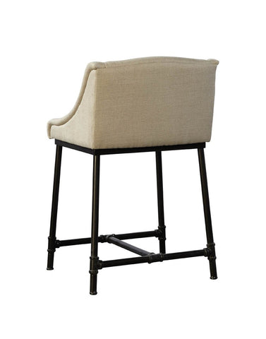 Linen and Iron Counter Stool