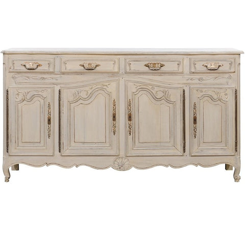 French Louis XV Style Painted Oak Buffet from Normandy, Four Doors and Drawers
