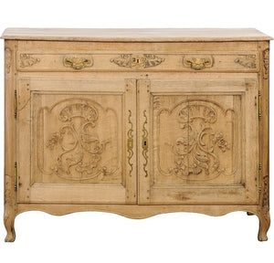 Northern French Louis XV Style, Stripped Oak Buffet with Carved Doors circa 1820