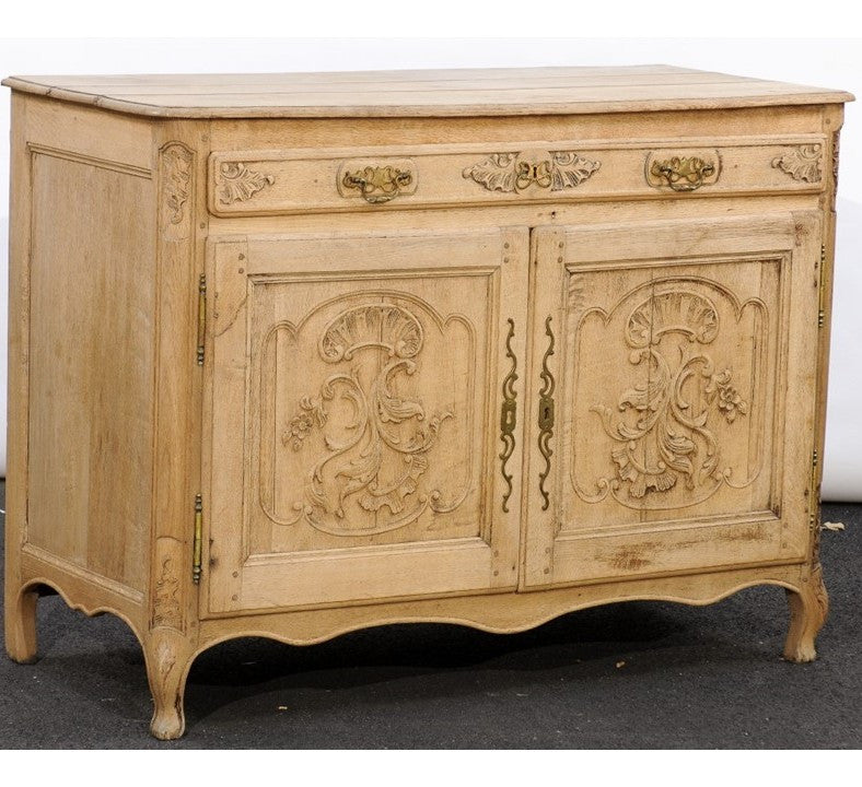 Northern French Louis XV Style Stripped Oak Buffet with Carved Doors circa 1820 & Northern French Louis XV Style Stripped Oak Buffet with Carved ...