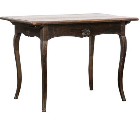 French Dark Walnut Louis XV Style Side Table from the Early 20th Century