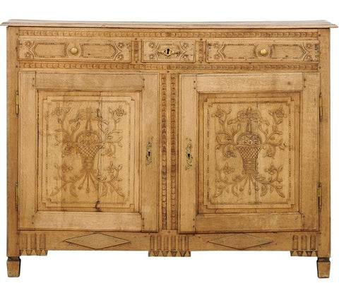 Louis XVI Style Stripped and Carved Oak Buffet, From Belgium, Mid-19th Century
