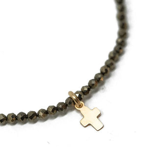 Erin Gray Design Little Luxe Cross on Pyrite Necklace