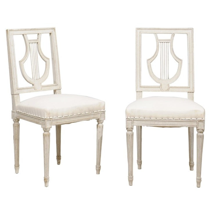 Pair Of Early 20th Century Lyre Motif Chairs