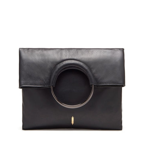 Mabel Foldover Bag in Black and Gunmetal