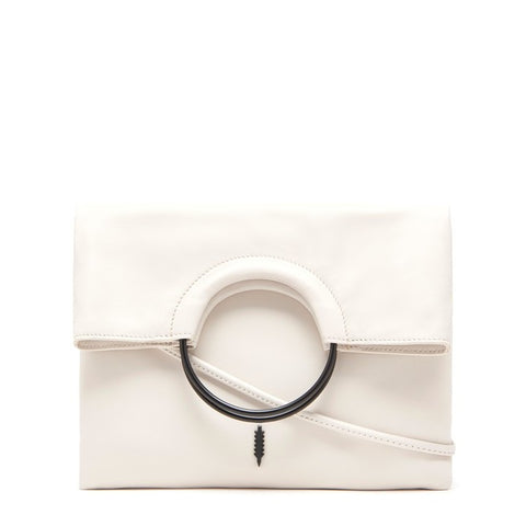 Mabel Foldover Bag in White and Black