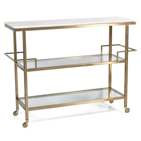 Brass and Makrana Albeta Marble Bar Cart