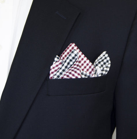 Olly Oxen Maroon and Black Pocket Square