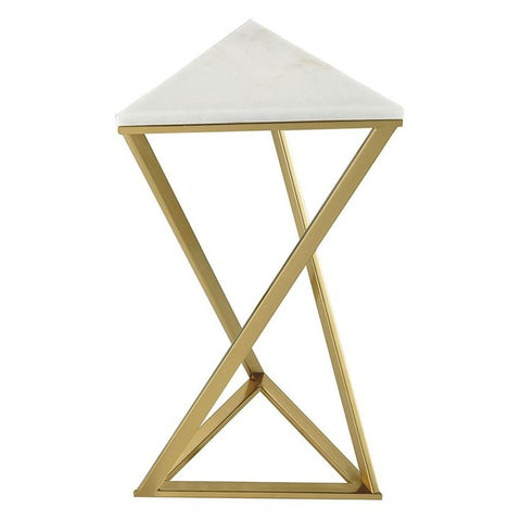 Triangular Gold and Marble Accent Table