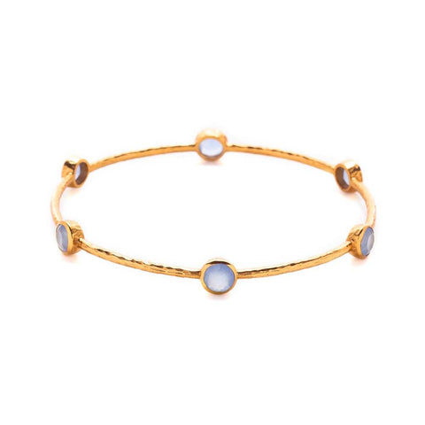 Julie Vos Milano Bangle in Opaque Chalcedony Blue