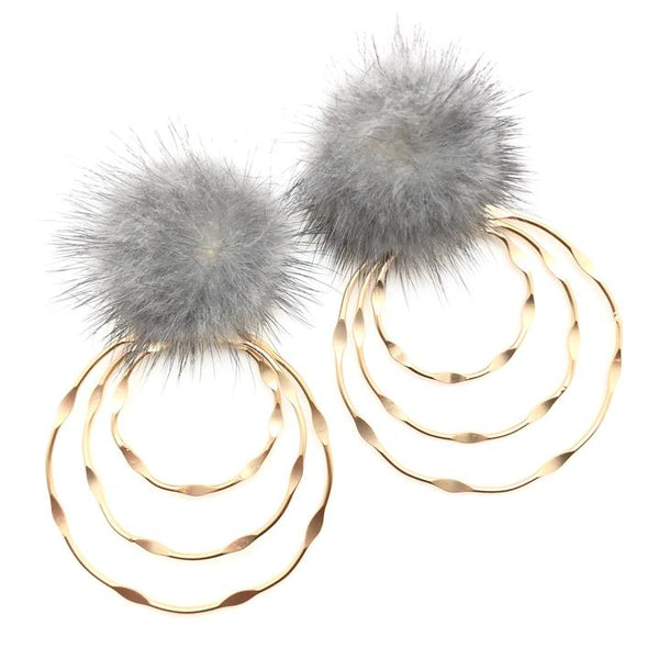 Shiver and Duke Mink Drop Earrings