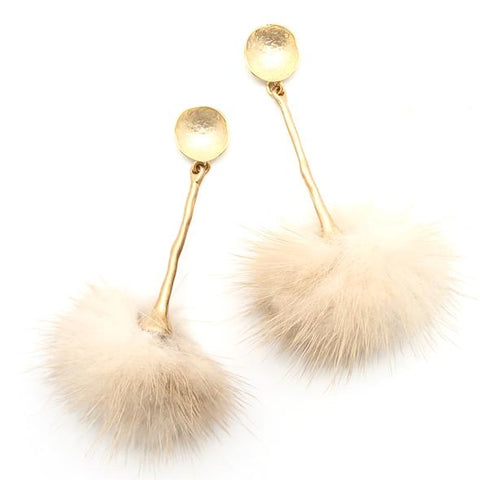 Shiver and Duke Taupe Fur Pom Pom Earrings