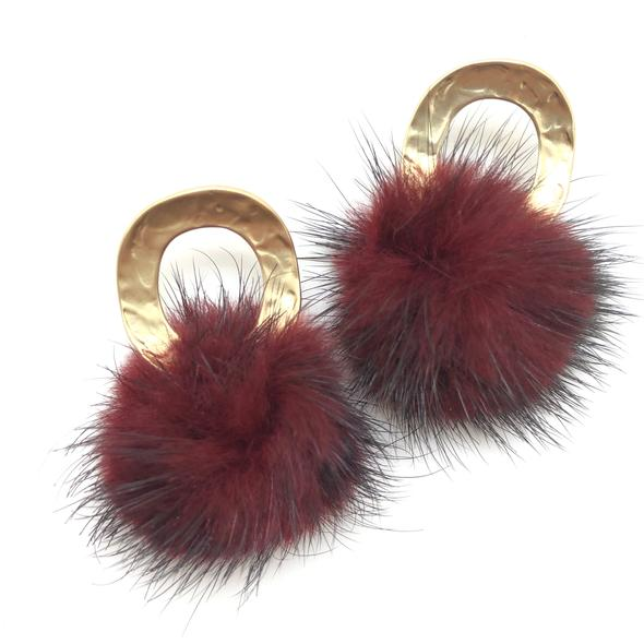 Shiver and Duke Mink Ring Stud Earrings