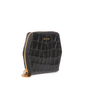 Mika Leather Wallet in Black Croc