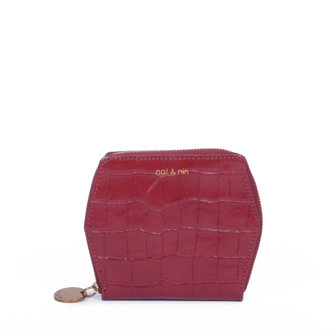Mika Leather Wallet in Cherry Croc