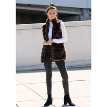 Load image into Gallery viewer, Reversible Mocha Mink Faux Fur Vest