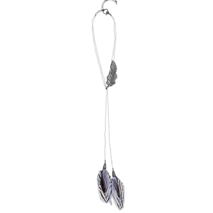 S. Carter Designs Moonstone and Feather Necklace