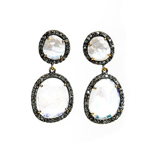 Cindy Ensor Moonstone Diamond Earrings