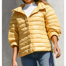 Load image into Gallery viewer, Crop Sleeve Puffer Jacket in Mustard