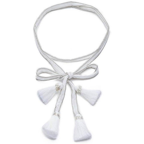Chan Luu White Solid Necktie with Tassels