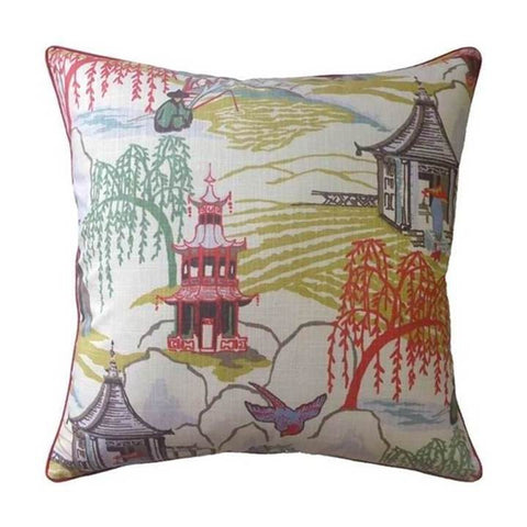 Ryan Studio Neo Toile Pillow in Coral