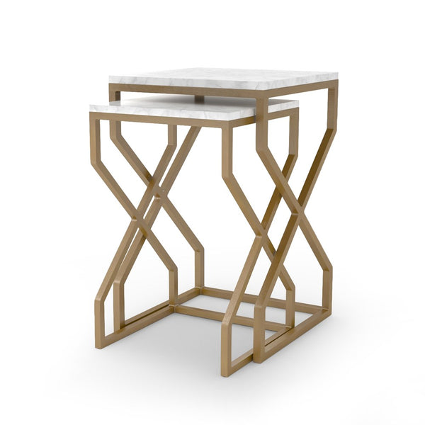 Marble and Brass Nesting Tables
