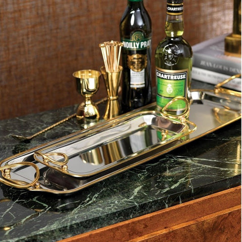 Nickel and Gold Tray with Ring Handles