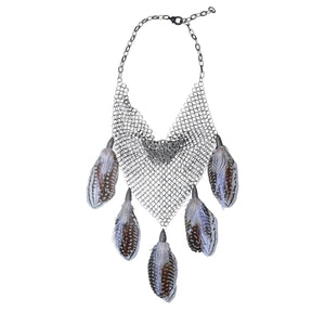 S. Carter Designs Chainmail Feather Necklace