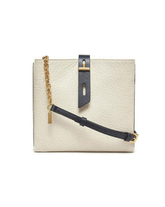 Off-White and Graphite Leather Crossbody Bag with Chain Strap