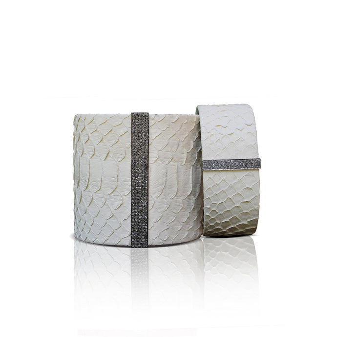 S. Carter Designs Off White Python Cuffs