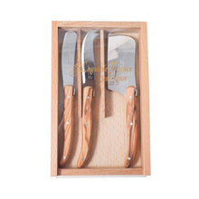 Load image into Gallery viewer, Laguiole Mini Olivewood Cheese Set