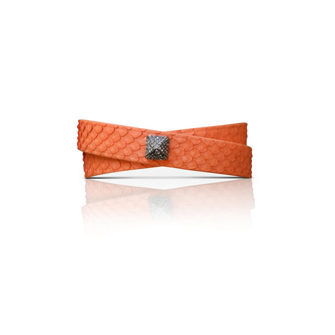S. Carter Designs Orange Python Double-Wrap Bracelet