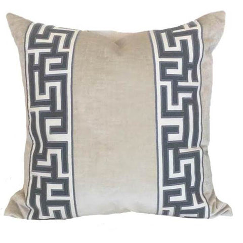 Ivy and Vine Oyster Greek Key Pillow