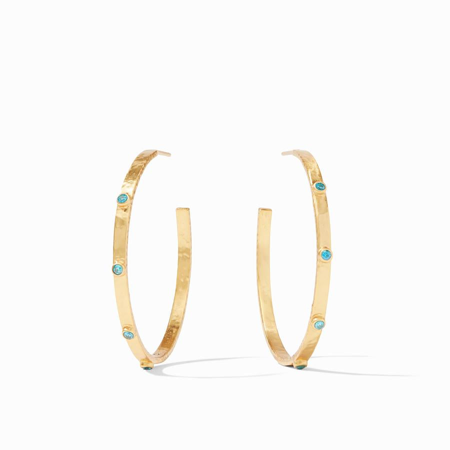 Pacific Blue Crescent Stone Hoop Earrings