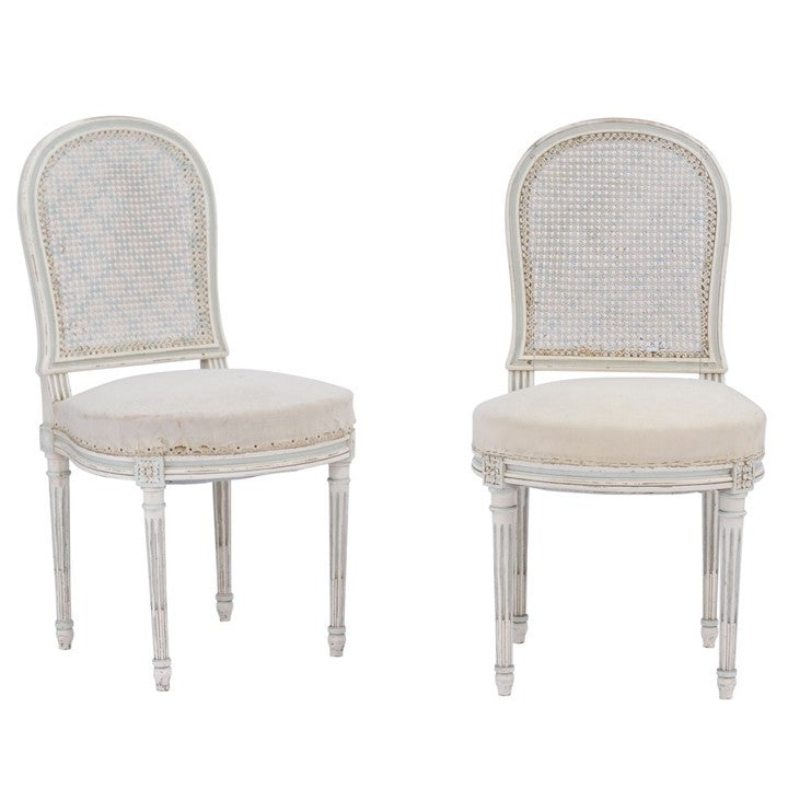 Superbe Pair Of Northern French Louis XVI Style 1940s Dining Chairs With Cane Backs