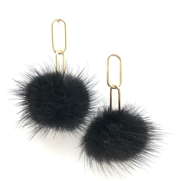 Shiver and Duke Gold Filled Mink Pom Earrings - Black