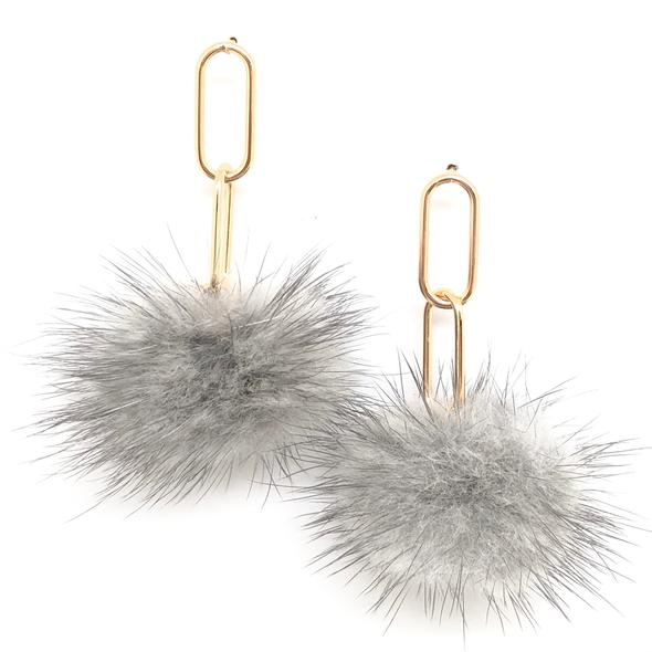 Shiver and Duke Gold Filled Mink Pom Earrings - Grey