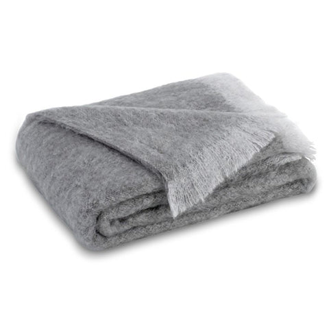 Pewter Brushed Mohair Throw