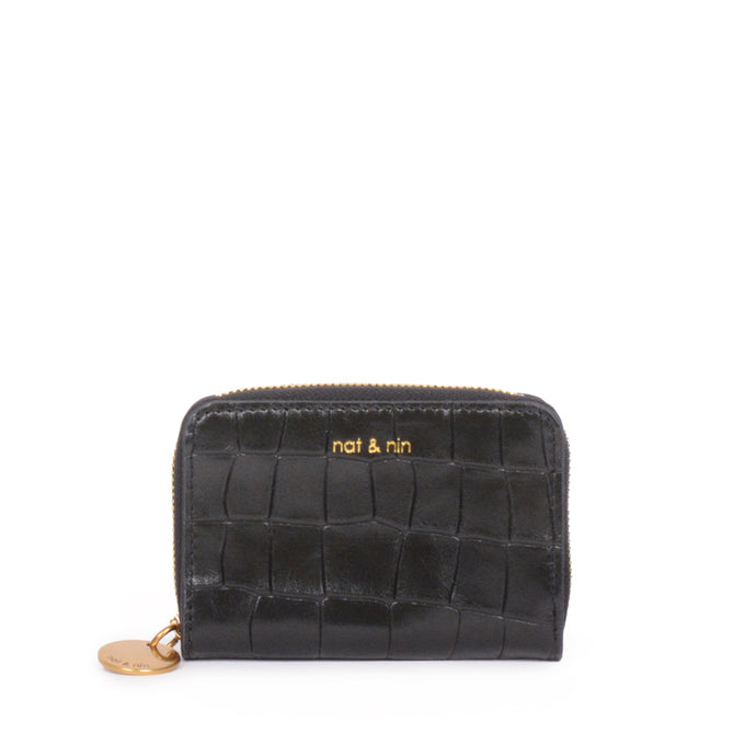 Pia Leather Wallet in Black Croc
