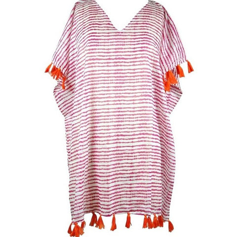 Pink and Orange Tassel Coverup
