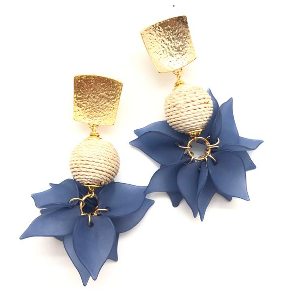 Shiver and Duke Rattan and Acrylic Earrings in Navy