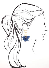 Load image into Gallery viewer, Shiver and Duke Rattan and Acrylic Earrings in Navy