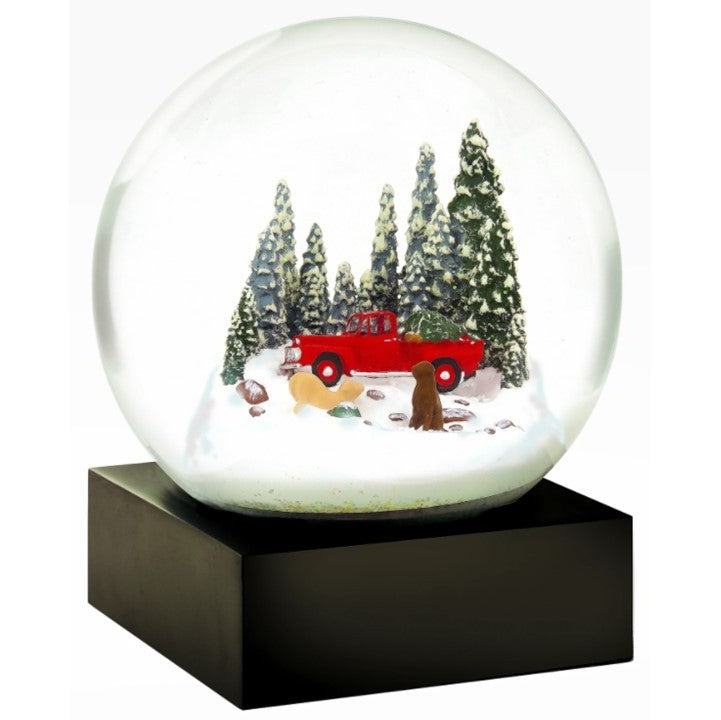 Red Truck with Dogs Snow Globe