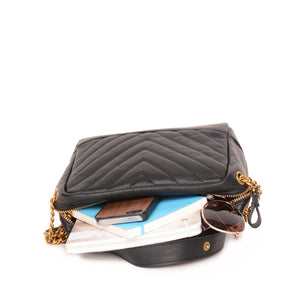Rio Leather Shoulder Bag in Black